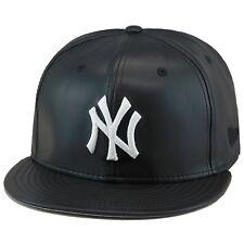 """New Era New York Yankees Snapback Hat Cap Black PU Leather/WHITE """"NY"""""""