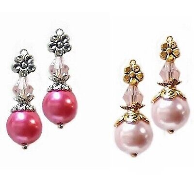 Earrings Black pearl crystal petite drop choose gold clip on pierced silver