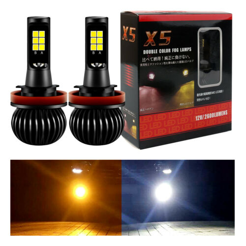 Pair H8 H11 Car LED Fog Driving Light Bulbs White YL Dual Color 2600LM UK