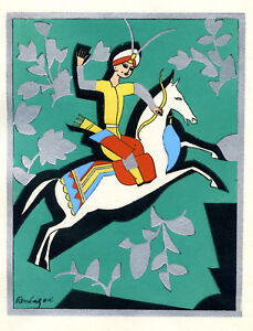 1930s-French-Pochoir-Print-Art-Deco-Oriental-Motifs-Horseman-Archer-Warrior