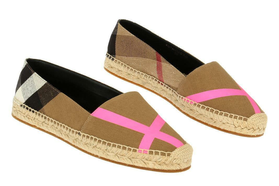 NEW BURBERRY NEON PINK CLASSIC CLASSIC CLASSIC CHECK FLAT ESPADRILLES LOAFER Scarpe 37/US 7 d0e4fb