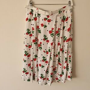 Vtg-80s-90s-White-Red-Rose-Polka-Dot-Rayon-A-Line-Belted-Skirt-XL-Pinup-Pockets