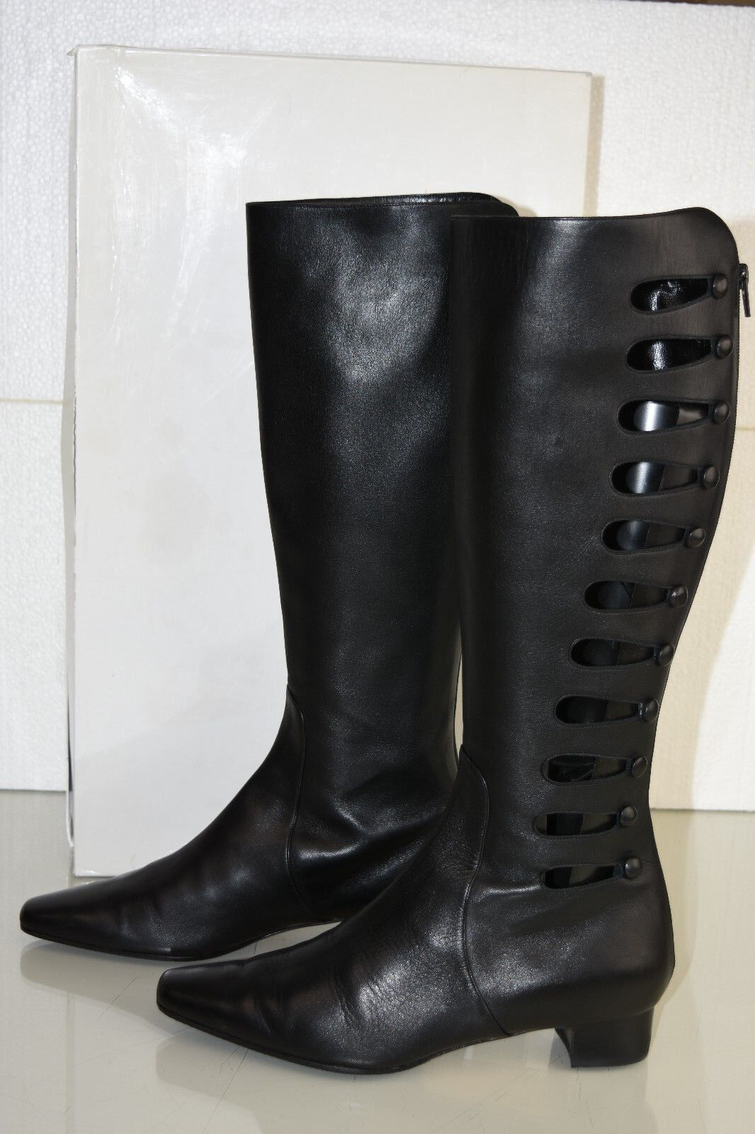 NEW MANOLO BLAHNIK ROMOLINO BOOTS BLACK LEATHER BACK ZIP SHOES 41.5