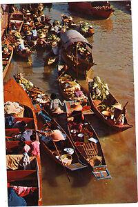 Tailandia-TARJETA-POSTAL-Mercado-flotante-WAT-SAI-cerca-de-Bangkok