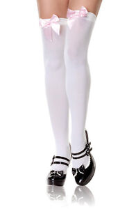 Sexy-Leg-Avenue-White-Opaque-Thigh-High-Stockings-w-Pink-Bow