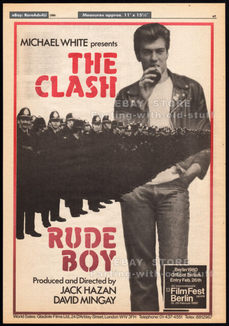RUDE BOY - The CLASH__Original 1980 PREMIERE trade AD promo_poster__Joe Strummer
