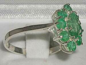 Solid-14ct-White-Gold-Natural-Emerald-Womens-Cluster-Ring-Sizes-J-to-Z