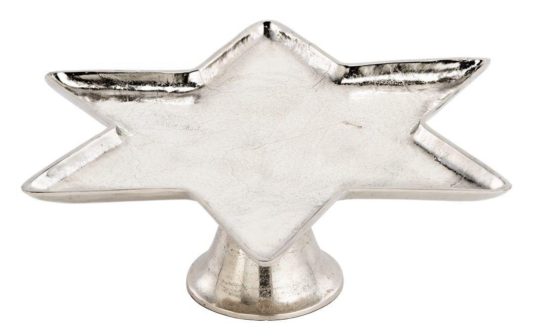 Alu-Platte - Stern - auf Fuß Schale Dekoteller Servierteller antike Optik in sil