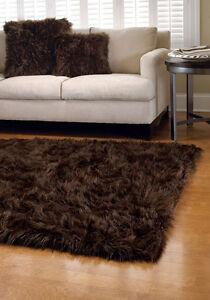 Dark Brown Faux Fur Area Rug 5 X 8 Washable Non Slip Made In Usa