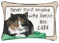 Manual Never Trust Cats 12.5 X 8.5-inch Decorative Throw Pillow, New, Free Shipp on sale