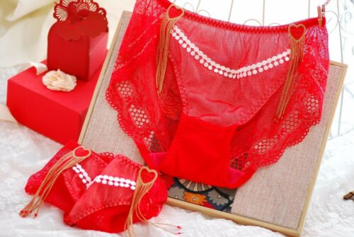 """VALENTINES panties exotic hearts french lace RED sissy high cut brief S//M 20-32/"""""""