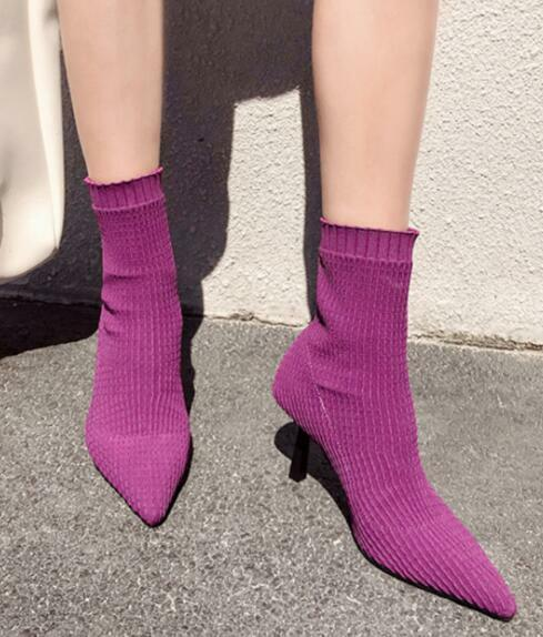 Womens Knitted Mid Calf Stretch Socks Riding Boots Pointed Toe Stilettos Zsell