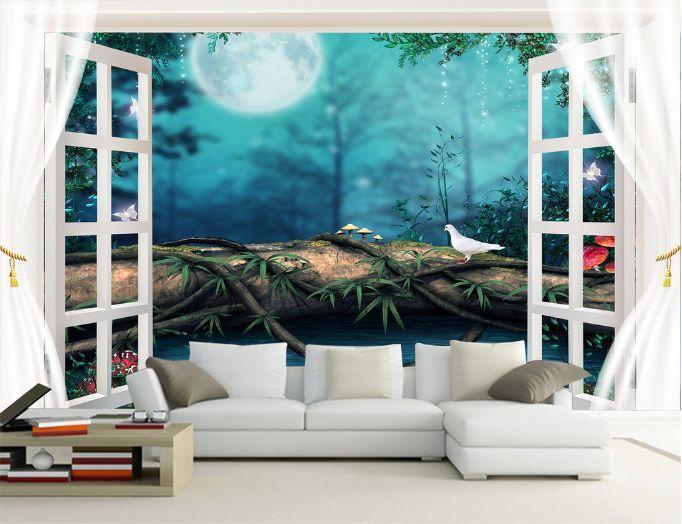 3D Abend- und Nacht 2766 Fototapeten Wandbild Fototapete BildTapete Familie