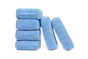 6 Pcs, Microfiber Applicator Sponge Pads Car Wash Wax Polish Detailing blue