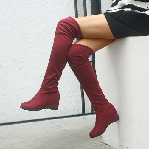Stylish Wide Fit Women/'s  Calf Over The Knee Boots With Stretch Panel JJ