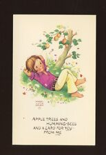 Artist MABEL LUCIE ATTWELL c1960s fashion girl apple tree PPC #MLA 43