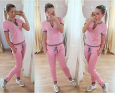 Womens New Fashion 2PCS Tops Shirt Pants Tracksuit Sport Yoga Sweat Suit Outfits