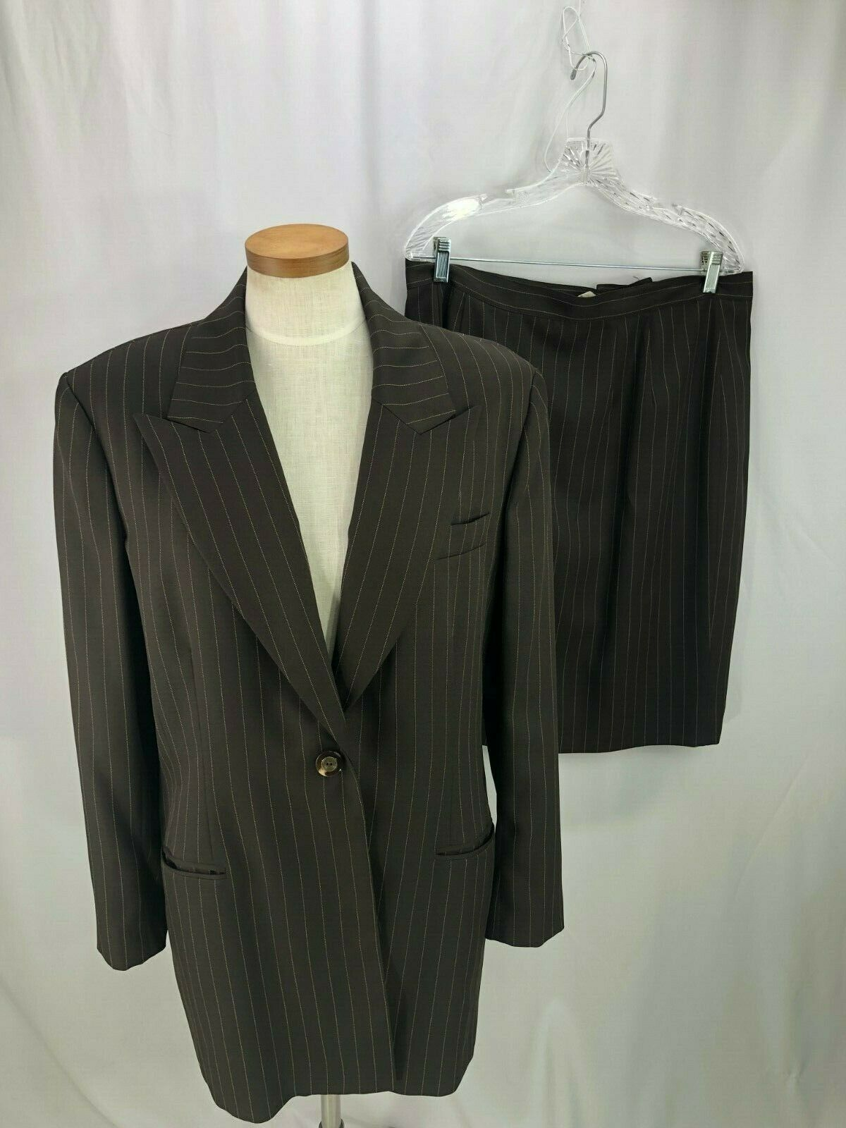 E R Gerard Women's Brown pinstripe Skirt Suit 18