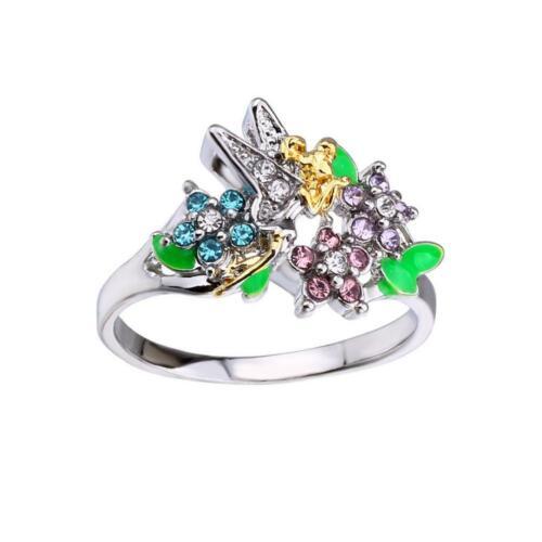 Neue exquisite Prinzessin Frauen vergoldet Krone Engelsflügel Ringgröße 5-10