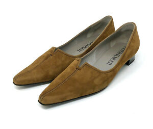"""PETER KAISER* Woman Size /""""6/"""" BROWN Suede Leather Open Toe  Slingback Shoes"""