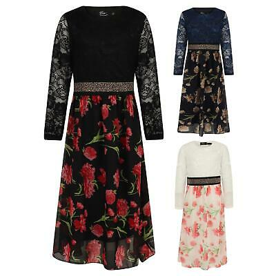 Girls Casual Maxi Floral Dress Long Sleeve Pocket Dresses 5-13 Y