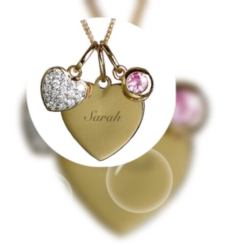 QUALITY Personalised Sterling Silver /& 9ct Gold Heart Necklace Gift BEAUTIFUL