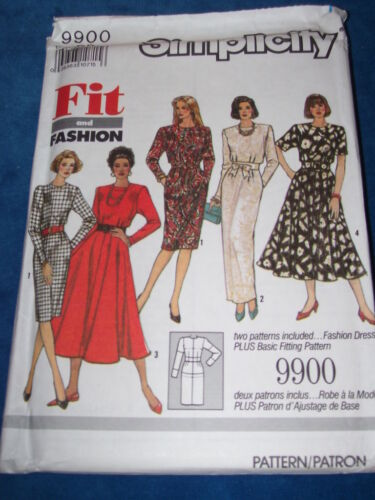 SIMPLICITY #9900-LADIES ~ FIT /& FASHION ~ TWO LENGTH BASIC DRESS PATTERN 4-18 FF