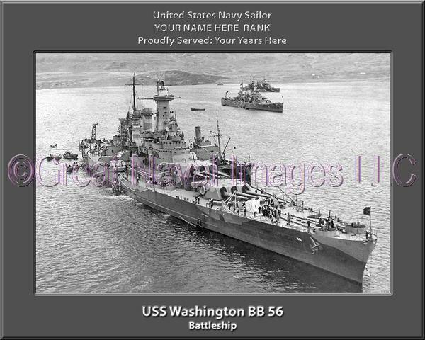 USS Washington BB 56 Personalized Canvas Ship Photo 2  Print Navy Veteran