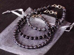 Solid 925 Sterling Silver Hematite Jewellery Bracelet Stud Earrings Grey