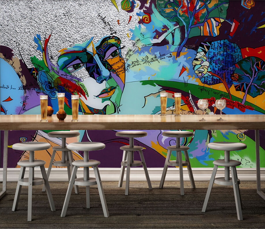 3D Graffiti people people people art Wall Paper wall Print Decal Wall Deco Indoor wall Mural 761ae6