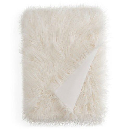 NEW WITH TAG HUDSON PARK - Mongolian Faux Fur Throw, Ivory  Perfect Gift