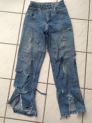 Gut Ausgebildete Fasching Karneval Zerfetzte Jeans High Waist Zombie Clochard Gr. ? Maße Beachten
