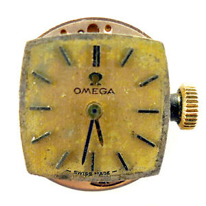 OMEGA-17-JEWELS-485-WATCH-DIAL-AND-MOVEMENT-FOR-PARTS-OR-REPAIRS