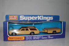 MATCHBOX SUPER KINGS #K-68 DODGE MONACO AND TRAILER, TAN, EXCELLENT, BOXED