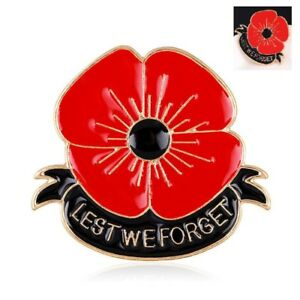 New Red Poppy Lapel Pin Enamel Badge Lest We Forget 3D Brooch 2018 Military Army