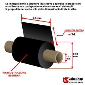 Ribbon-64-mm-x-74-m-ink-out-WAX-Nastro-carbongrafico-a-base-cera-per-stampa-a