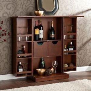 Image Is Loading Walnut Finish Folding Home Bar Cabinet Liquor Wine