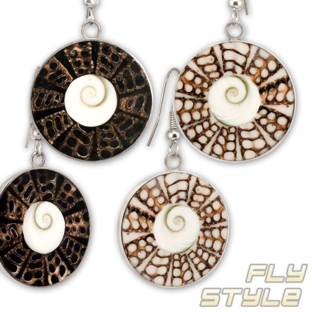 Kreiselschnecken Shiva Auge Ohrhänger Edelstahl muschel silber schutz ohrringe