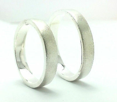 Sterling Silver Hard Matte Flat Wedding Band Rings Set 4mm His and Her All Sizes