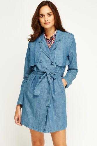 Women Trench Midi Double Breasted Coat Denim Blue Summer Mac Pocket Tie Jackets
