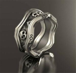 Cool-925-Silver-Skeleton-Skull-Band-Ring-Band-Women-Men-Biker-Jewelry-Size-5-13