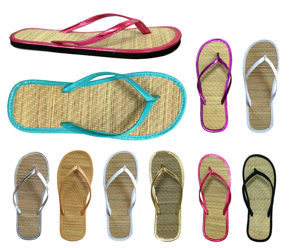 Wholesale Lot Wouomo Sandals Sandals Sandals Bamboo Flip Flop 48 pairs 8 Coloreeeeeees eaaed6