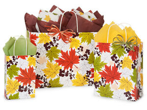 FALLING-LEAVES-Design-Party-Gift-Paper-Bag-ONLY-Choose-Size-amp-Pack-Amount