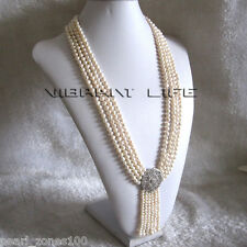 """27-31"""" 5-6mm White 4Row Freshwater Pearl Necklace With Tassel A-20 AC"""