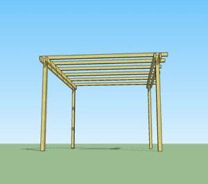 Pergola in legno 4x3 gazebo autoportante in legno impregnato in ...