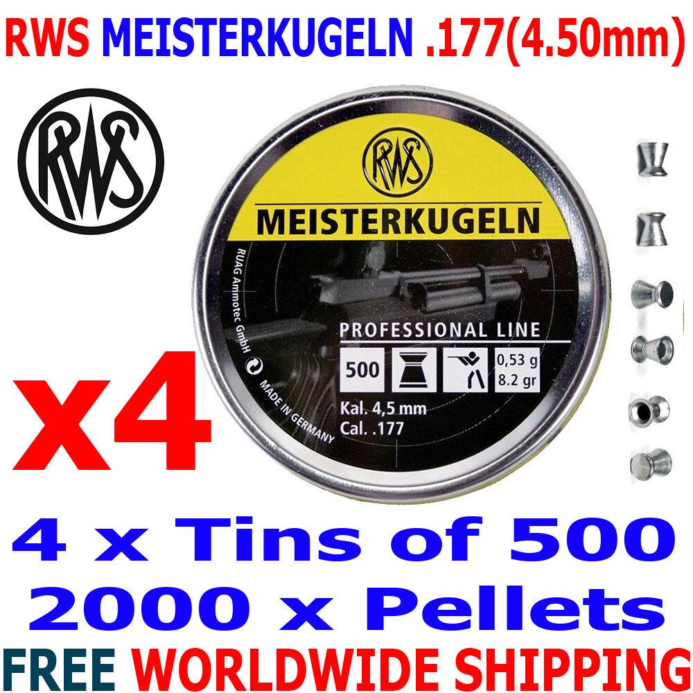 RWS MEISTERKUGELN .177 4.50mm Airgun Pellets 4 (latas) x500 un. (10m Rifle) 0,53