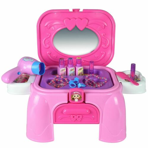 New Dressing Desk Playset Pink Toy Stool Kids Activities Girls Fun Playtime