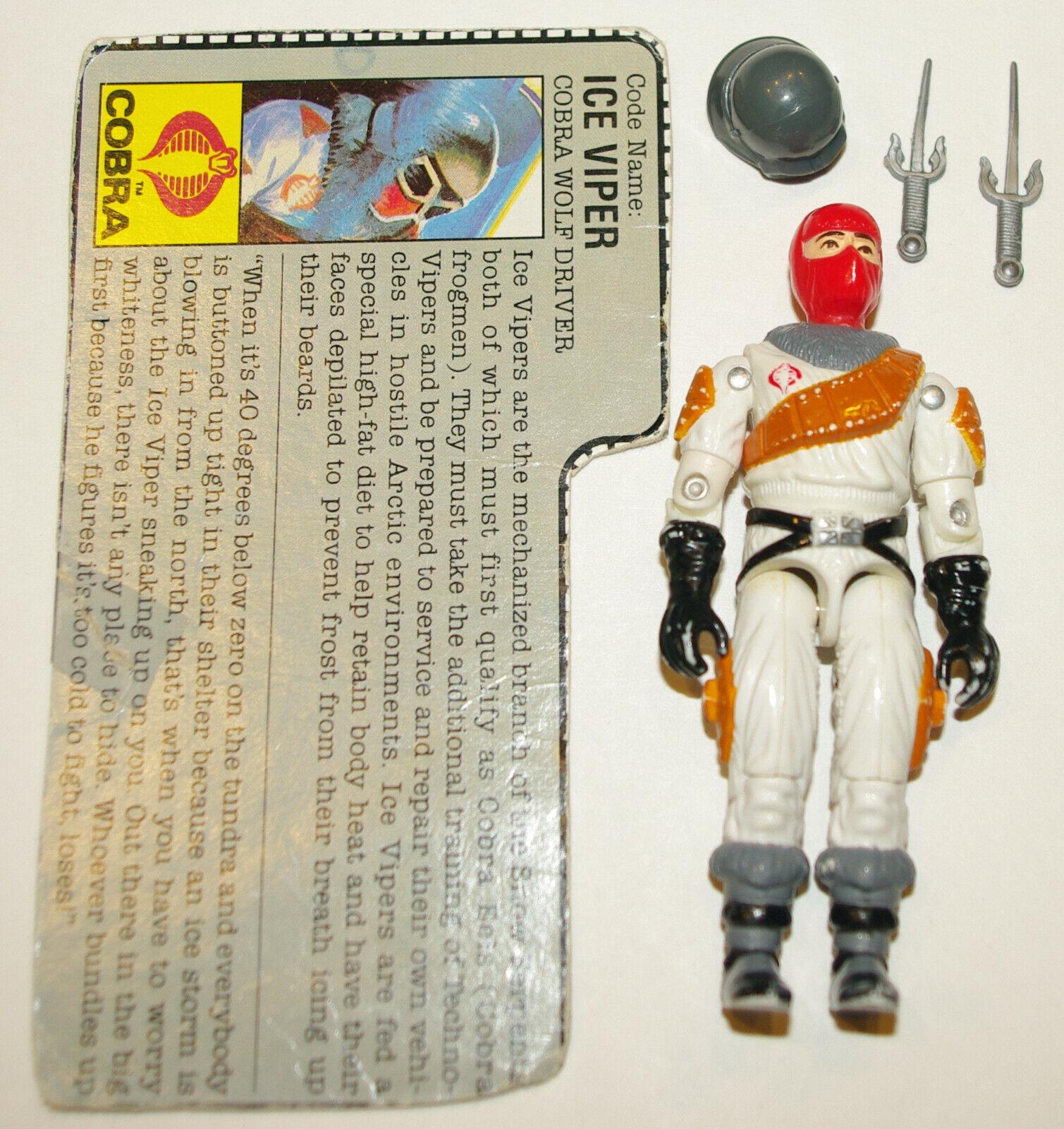 GI Joe 1987 Ice Viper (v1) - Complete with File Card, Helmet, Two Sai Daggers