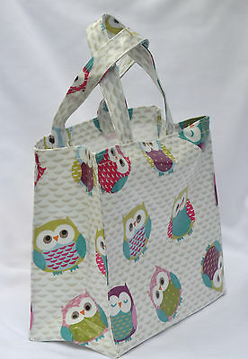 Fun Owls craft Handmade Cotton Oilcloth small tote bag Childs Bag Lunch