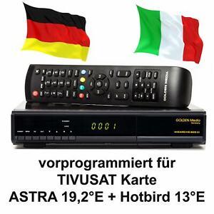 TIVUSAT-Sat-Receiver-Golden-Media-vorbereitet-fuer-Karte-Senderliste-Mediaset-HD